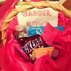 "Chemo care package. I added my own ""cancer blows"" hankey. Contents: water to keep hydrated, peppermints in case she gets a bad taste in her mouth from the treatment, germ x, hand lotion, chocolate, a journal and pink pen! cancer blow, chemo care package"
