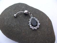 Black Gem Dangle Belly Ring 14 Gauge by EleganceAndGrace on Etsy, $12.00