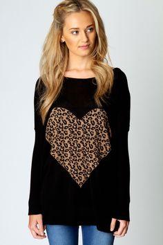 Leopard heart long sleeve...<3<3