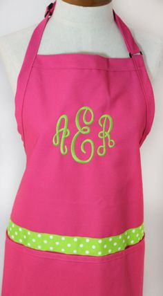 Monogrammed Gift Womens Hot Pink Apron Personalized by shopmemento, $25.00 - my #mother-in-law is an awesome cook and she has a small collection of aprons but I love the pink and green colors in this one and think she'd like them, too.  Might be a great #Christmas gift idea and it's personalized.