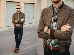 Tweed jacket, checkered shirt