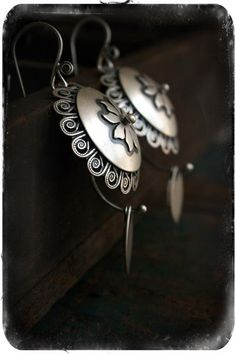 "Rosy Revolver ""Fandangles"".  Sterling Silver earrings from a talented silversmith out of NC."