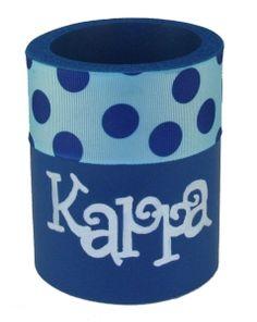 Kappa Kappa Gamma KKG drink holder created with stencil and ribbon from DIYGreek.com #koozie, #kappa, #kappa kappa gamma, #KKG, #sister, #little sister, #craft, #idea, #sorority, #greek,  #gift