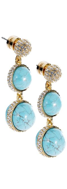 Michael Kors Turquoise Double Drop Earring with Pavel Detail