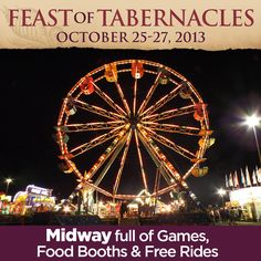 If you're in the San Antonio area, join us for the Feast of Tabernacles! For more information, you can call us at (210) 490-1600