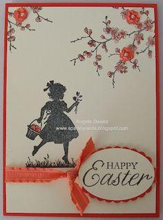 stampin up easter blossom, easter card, girl silhouett, girl birthday card, easter stampin