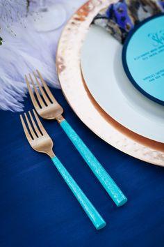 turquoise dipped flatware, photo by Olivia Smartt Photography http://ruffledblog.com/bohemian-desert-wedding-with-mid-century-influence #weddingideas