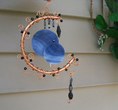 Moon Shadow, Copper Moon and Stained Glass Wind Chimes by gardenjeweles