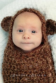 This makes him look like an Ewok..  CROCHET PATTERN - Newborn Teddy Bear Cocoon Photography Prop