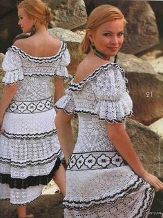 crocheted dress, lovely. someone make this for me please :)