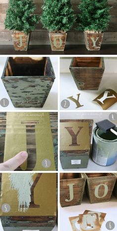 Creative stenciled #holiday tree #pots. Learn how to make them here!