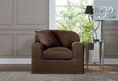 Premier Acadia Separate Seat Chair Slipcovers - available in oyster and chocolate (shown)