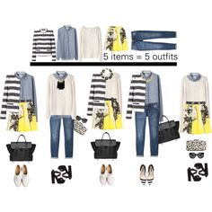 """Black,White, Animal Print, Denim, Yellow, Floral, Gray Stripes, Jeans Outfit """"spring remix"""" by frutini on Polyvore"""