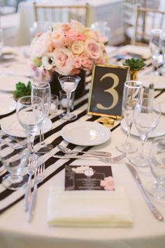 #place-settings, #table-numbers, #centerpiece  Photography: Katie Shuler Photography - www.katieshuler.com  Read More: http://www.stylemepretty.com/2014/07/25/classic-indoor-wedding-with-a-dash-of-glam/