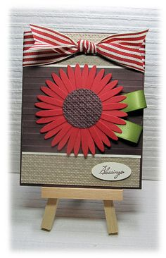 Like the ribbon leaves...could also use the sunflower stamp from stampin' up!