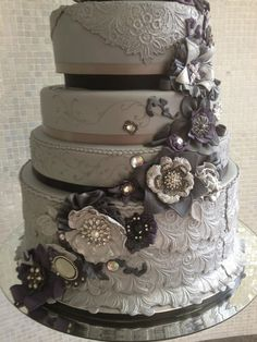 gray weddings, dream cake, cake wedding, color schemes, elegant cakes, grey weddings, wedding cakes, silver weddings, cake pictur