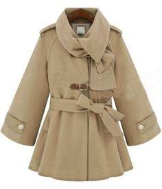 {tan bell-sleeved woolen coat}