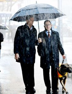 Reese and Finch with their dog Bear on  the tv show, Person of Interest.