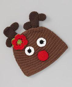 Brown Flower Reindeer Crochet Beanie   #crochet #inspiration