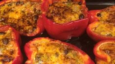This recipe for stuffed peppers is vegetarian-friendly, as the filling is a cheesy mixture of rice, beans, and tomatoes.