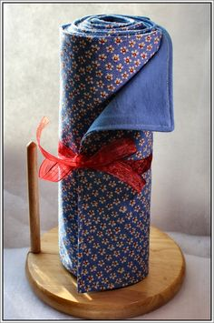 """A dozen """"unpaper towels"""" with fat quarters on one side and t-shirt fabric on the other. Love this idea!"""