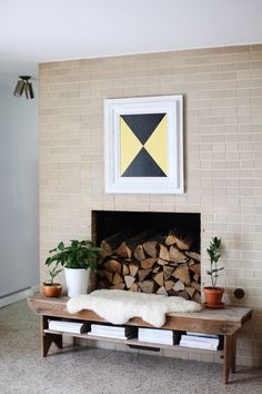 Bench with shelves, in front of fireplace