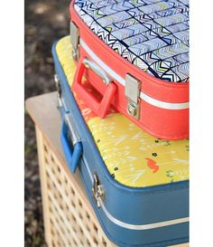 Tutorial: Revamp a vintage suitcase with pretty fabrics  see old cases cheap all the time at car boots and charity shops brilliant idea