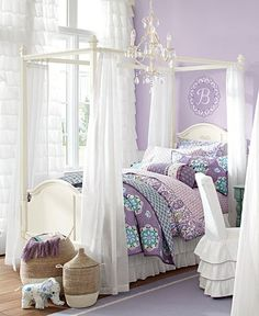 If Max ever has a sister, or for one of my nieces!!!Brooklyn Shared Spaces | Pottery Barn Kids potteri barn, canopy beds, big girl, girl bedrooms, purple rooms, barns, pottery barn, girl rooms, kid