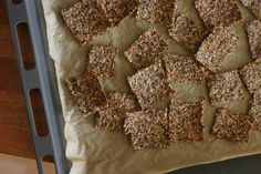 gluten free crackers 2 cups cooked brown rice  2 cups cooked quinoa (I used a mix of red, black, and white quinoa)  2/3 cup unhulled sesame seeds  1/2 cup flax seeds  1/2 cup water  2 Tbsp tamari (I used Bragg*)  3 Tbsp olive oil  1 tsp sea salt