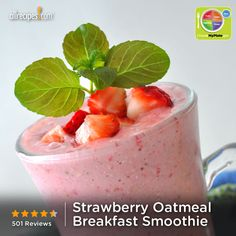 Strawberry Oatmeal Breakfast Smoothie from Allrecipes.com #myplate #grain #fruit