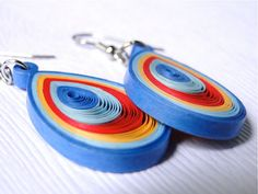 Colorful Quilled Paper Pendant Earrings. by SimplyQuilledDesigns, $25.00