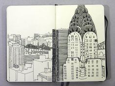 Great drawing and use of space in a journal. Reminds me of The Royal Tenenbaums