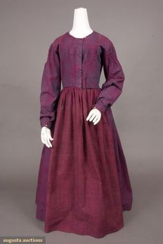 1840s Fashion | CHECKED WORK DRESS, FRANCE, c. 1840 | Historical Fashion 1840's
