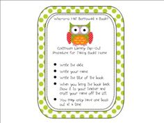 FREE Owl Themed Classroom Library Sign Out