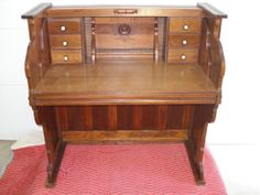 Repurposed..Piano... Upcycled... 1896 Cornish Reed Pump Organ Writing Desk...Walnut...One of a Kind