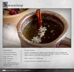 """""""Absolutely delicious with honey."""" MORE RECIPES: http://itsh.bo/LQC1sC #gameofthrones #tea #food"""