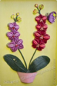 Red & Purple Orchids Filigrana con papel