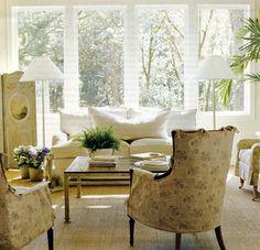 white sofa, slipcovered chairs