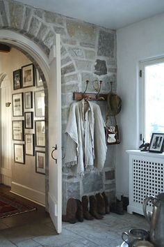 stone wall in entry....