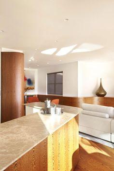 Lavish Penthouse Design in Australia: Long Natural Kitchen Island Project Of Bellevue Hill Interior House Hardwood Kitchen Island With Cream...