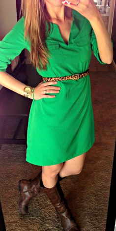 all things katie marie: Katie's Closet green dress with leopard belt