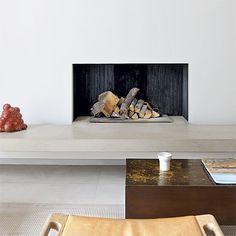 Wohnzimmer mit minimalistischen Kamin Wohnideen Living Ideas Interiors Decoration