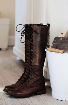 Dark brown knee-high womens lace-up riding boots! These tall boots go well with pants, jeans, a skirt or dress