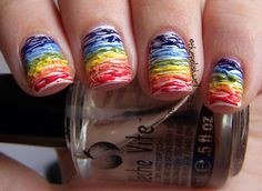 nails   Tutorial   Rainbow Stripes :)