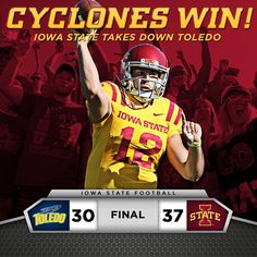 Victory! Iowa State beats Toledo 37 to 30. #cyclones #cyclonenation #loyalforevertrue