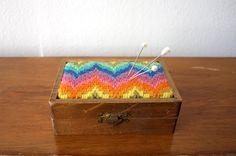 Vintage GEOMETRIC RAINBOW Trinket Box