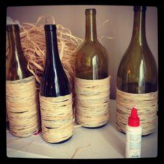 Raffia Wrapped Wine Bottles
