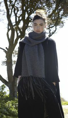 Leather fringe scarf - Plümo Ltd