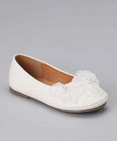 Take a look at this White Flower Ballerina Flat by Kid's Dream on #zulily today!