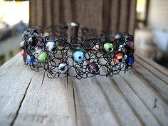 Crochet wire bracelet black dotted billiard by MegsCrochetJewels, $28.00